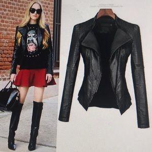Woman's casual long sleeve pu leather jacket